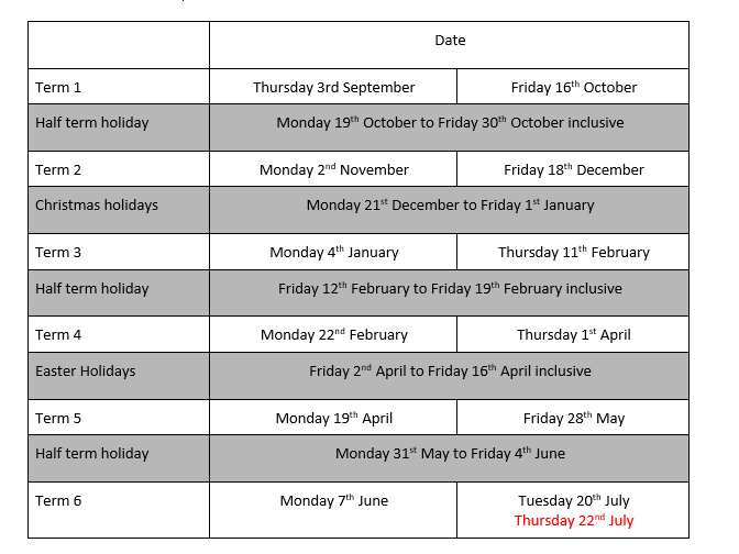 Image showing a table for Term Dates.